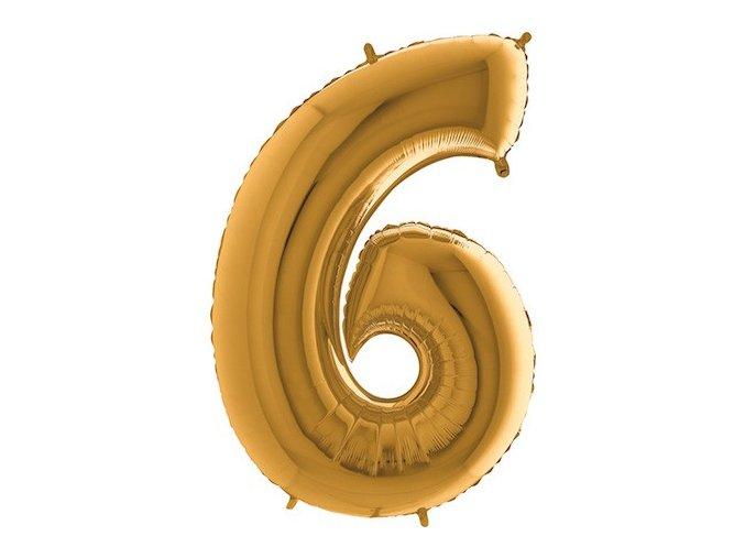 Balon foliove cislo zlate 6