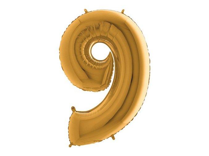 Balon foliove cislo zlate 9