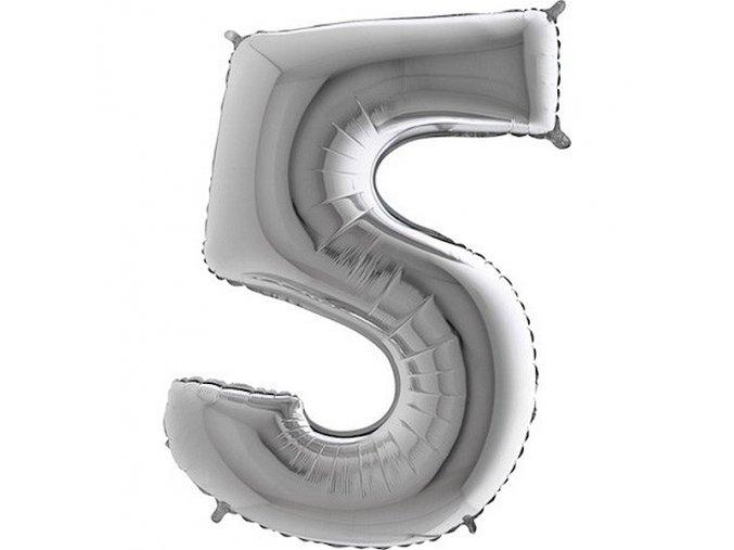 Balon foliove cislo stribrne 5