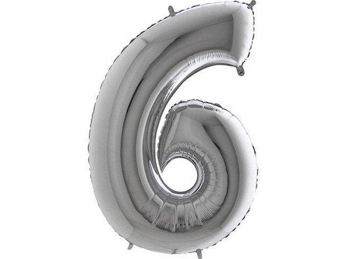 Balon foliove cislo stribrne 6