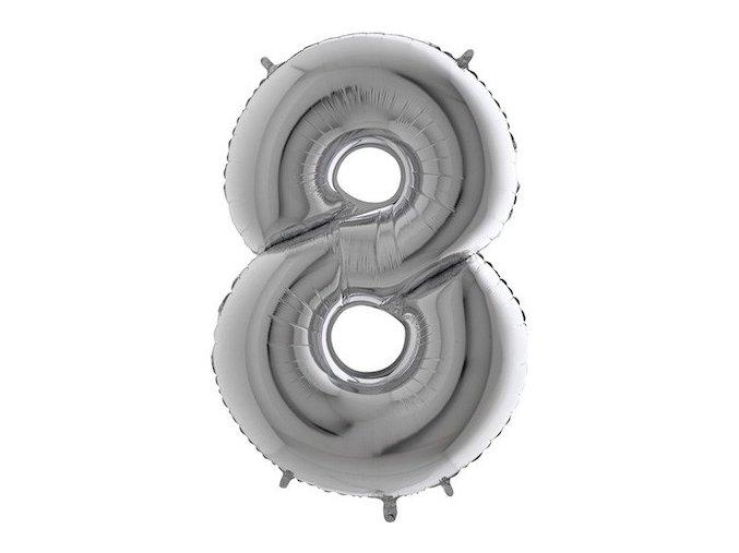 Balon foliove cislo stribrne 8