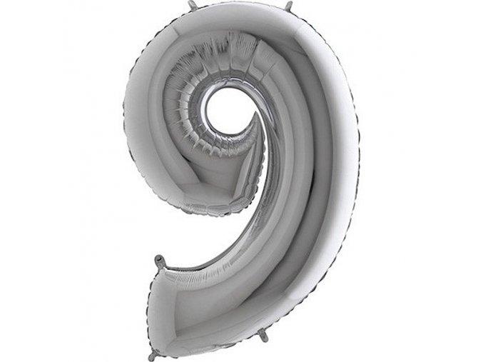 Balon foliove cislice stribrne 9