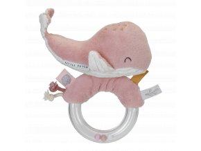 chrastítko - velryba na plastovém kroužku - růžová Little Dutch