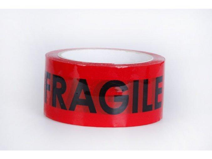 Lepící páska, FRAGILE, červená