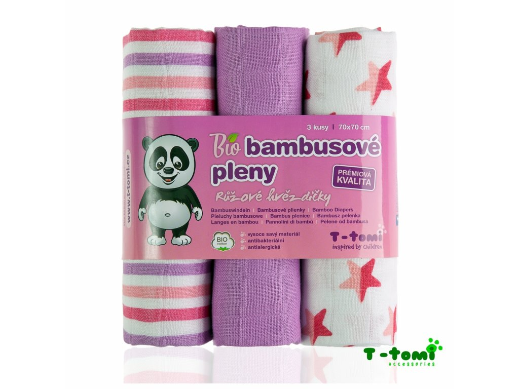 detske pleny t tomi ruzove hvezdicky bambusove