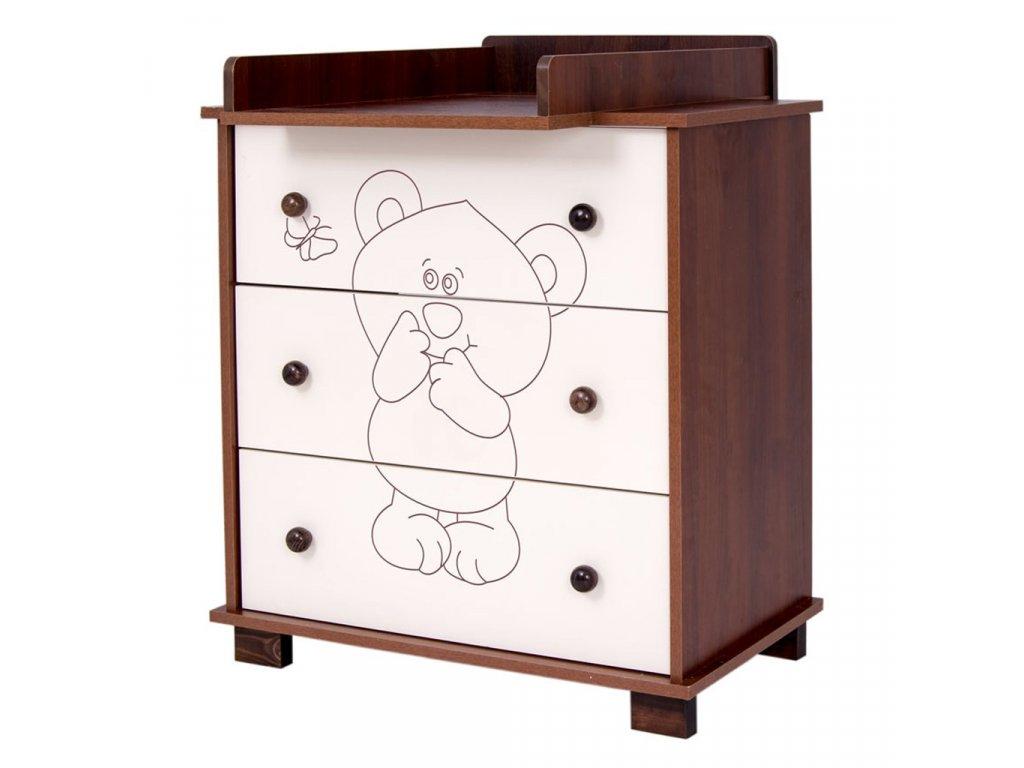 Dětská komoda Drewex Malý medvídek a motýlek
