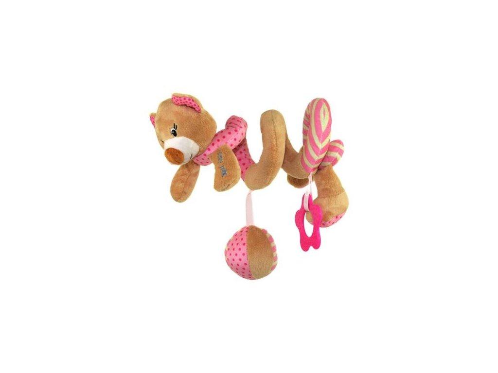 detska hracka na postylku baby mix spirala medved ruzovy