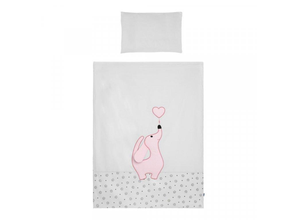 Dětské povlečení do postýlky Belisima Lovely Puppy 3-dílné 90 x 120 cm růžové