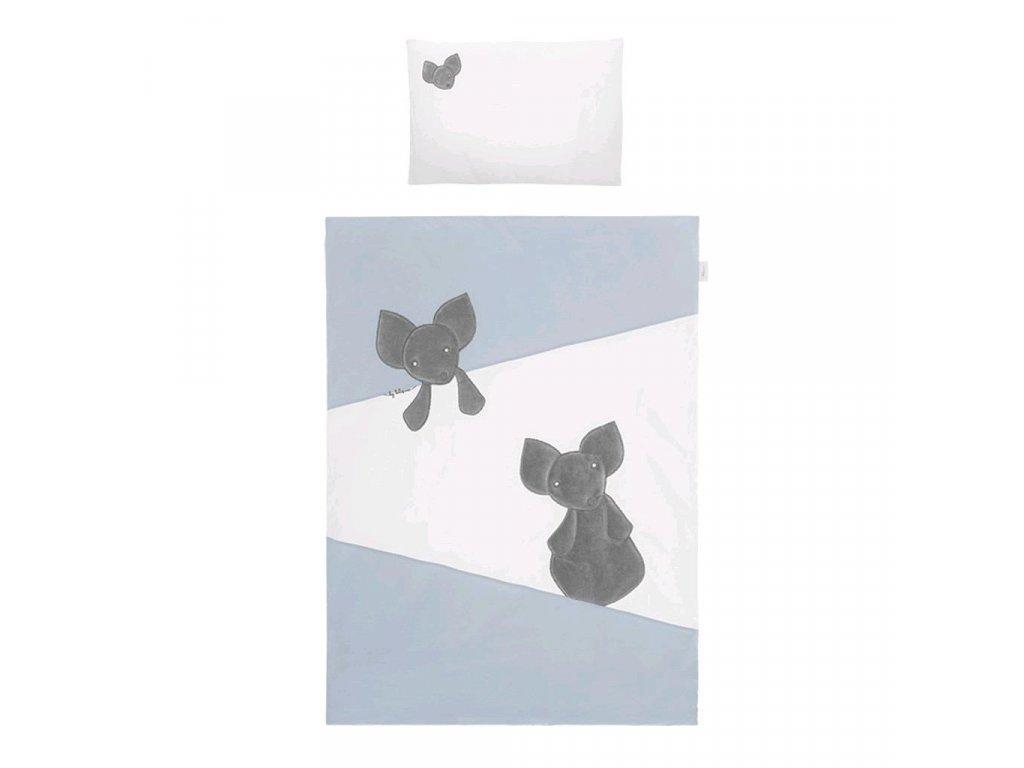 Dětské povlečení do postýlky Belisima Mouse 3-dílné 100 x 135 cm modré