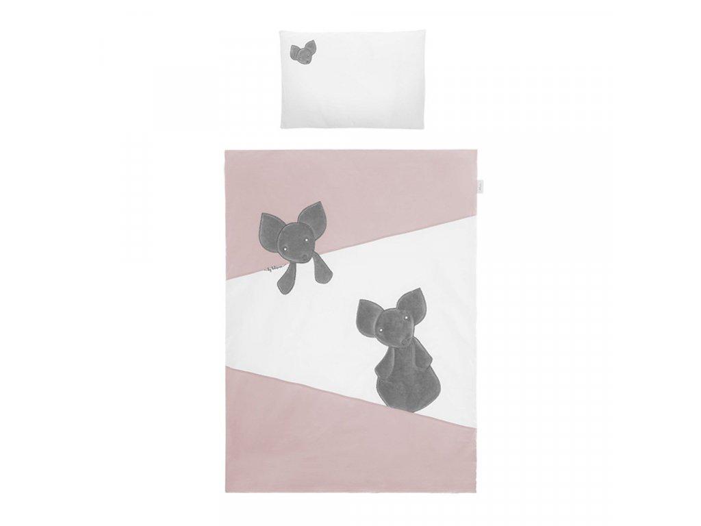 Dětské povlečení do postýlky Belisima Mouse 6-ti dílné 100 x 135 cm růžové