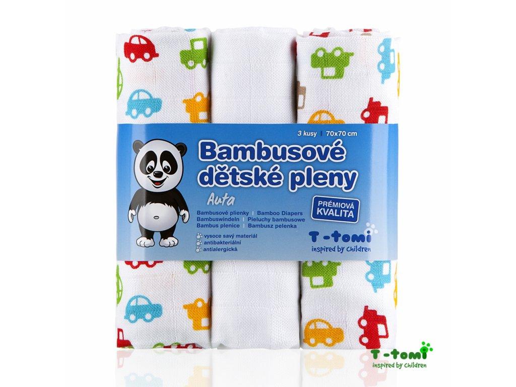 Dětské pleny T-Tomi Auta bambusové