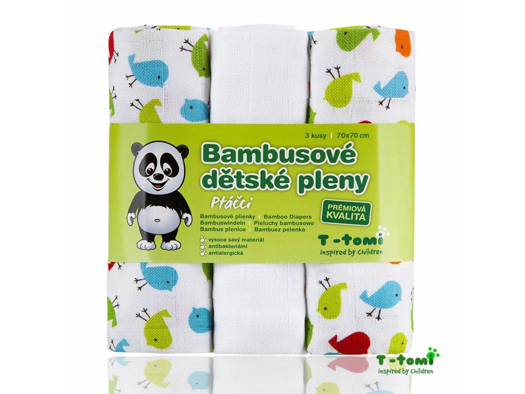 Dětské pleny T-Tomi Ptáčci bambusové