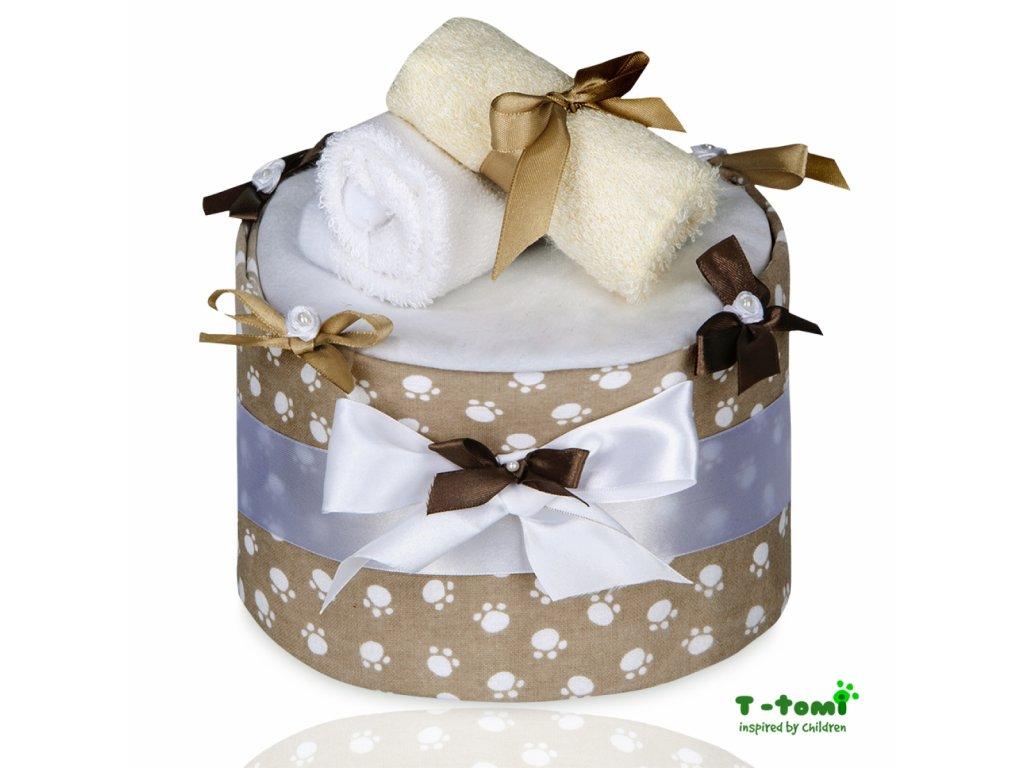 Plenkový dort T-Tomi Lux Tlapky béžové-velký