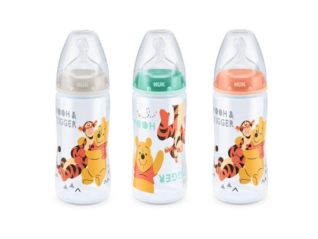 kojenecka lahev nuk first choice disney medvidek pu 0 6 mesicu silikonova 300 ml bezova 2