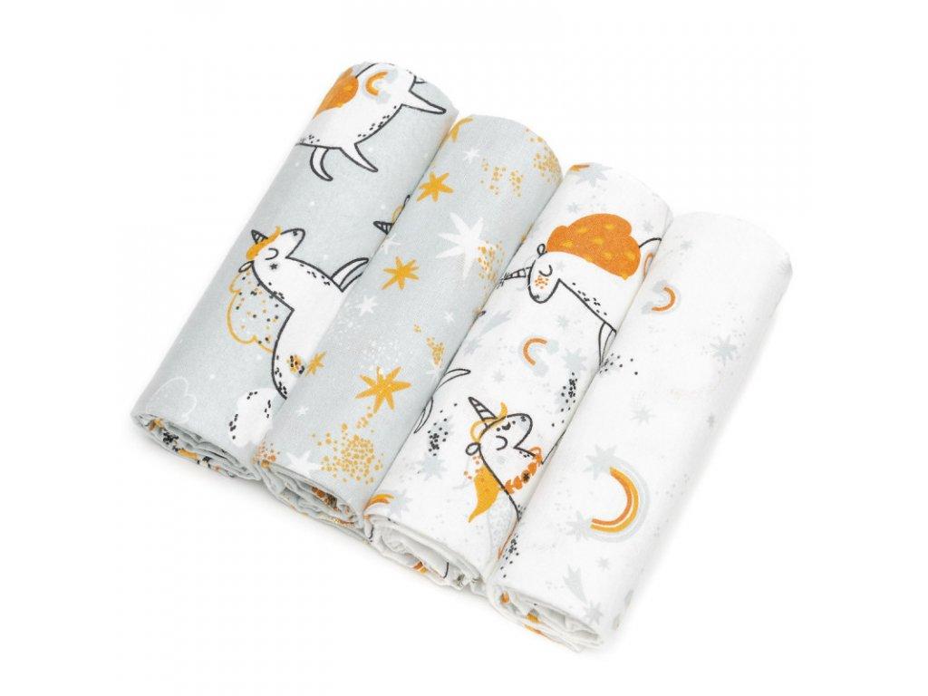 detske pleny t tomi bavlnene s flanelem 4 kusy unicorns
