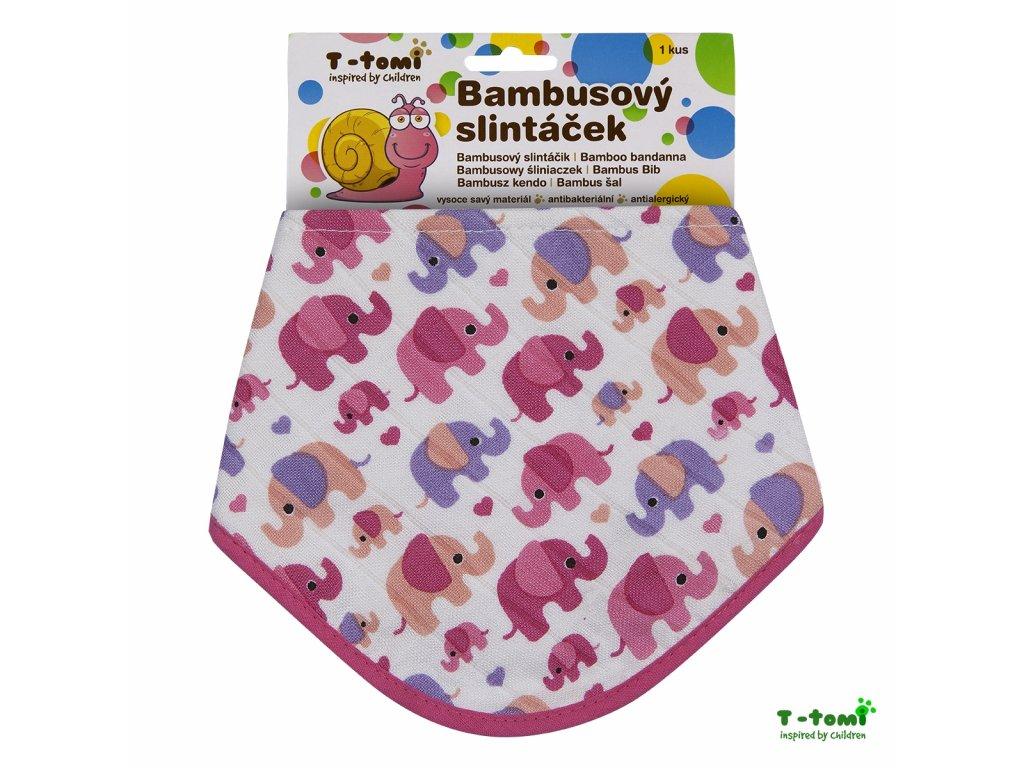 detsky slintacek t tomi bambusovy ruzovi sloni