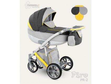 Dětský kočárek Camarelo Piro tmavě šedý se světle šedou a žlutou