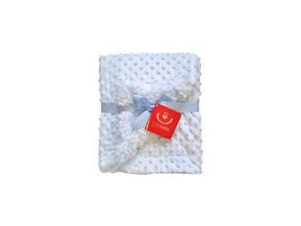 detska deka bobobaby oboustranna minky 75 x 100 cm modra