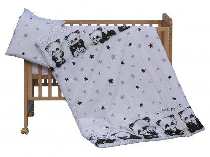 detske povleceni do postylky scarlett panda 2 dilne 100 x 135 cm bila