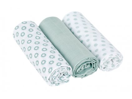 detska plena lassig swaddle blanket bavlnena 85 85 cm 3 kusy little chums stars light mint