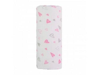 detska plenkova osuska velka t tomi bavlnena pink hearts 120 x 120 cm