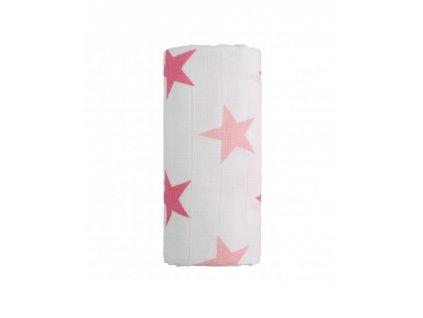 detska plenkova osuska velka t tomi bavlnena pink stars 120 x 120 cm