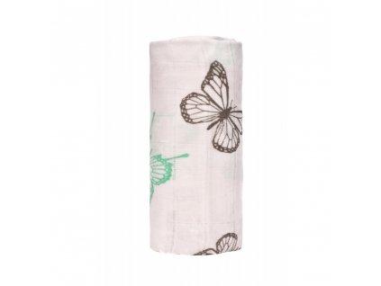 detska plenkova osuska t tomi bambusova s potiskem 120 x 120 cm butterflies