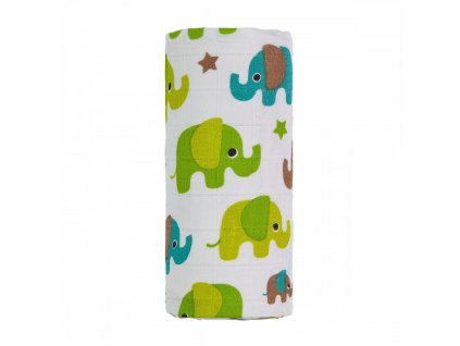 detska plenkova osuska t tomi bambusova s potiskem 120 x 120 cm zeleni sloni