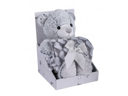 detska deka s plysovou hrackou easy care sedy medved