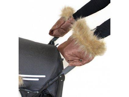 rukavnik rukavice na kocarek emitex luxury hneda