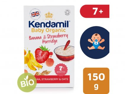 jemna bio organicka detska bananovo jahodova kase kendamil 150 g 2