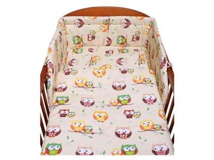 Dětské povlečení do postýlky New Baby Sovy 3-dílné 100 x 135 cm béžové
