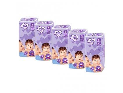 MEGAPACK Dětské jednorázové pleny New Love Premium comfort 5 JUNIOR 11-25 kg 5x38 ks