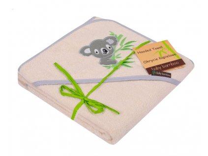 Dětská osuška DuetBaby Sovy s kapucí bambus 100 x 100 cm