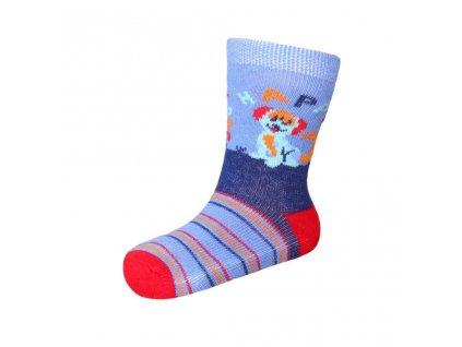 Kojenecké bavlněné ponožky New Baby modro-červené happy dog