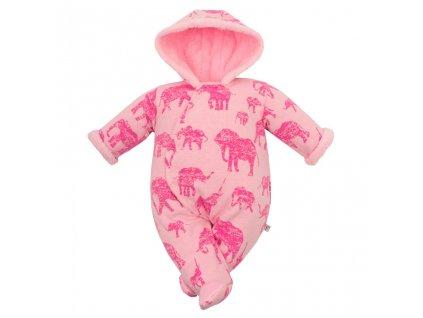 Zimní kojenecká kombinéza s kapucí Baby Service Sloni
