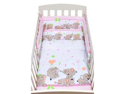 Dětské povlečení do postýlky New Baby Sloni 2-dílné 100 x 135 cm růžové