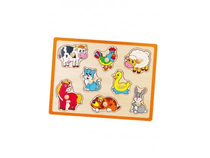 Dětské dřevěné puzzle s úchyty Viga Farma