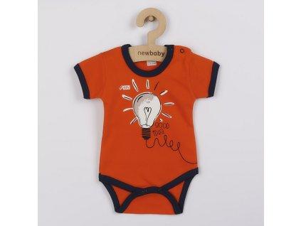 Kojenecké bavlněné body s krátkým rukávem New Baby Happy Bulbs