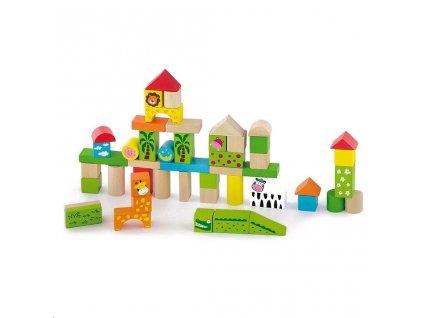 Dřevěné kostky pro děti Viga ZOO 50 dílů