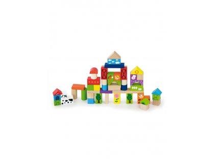 Dřevěné kostky pro děti Viga Farma 50 dílů