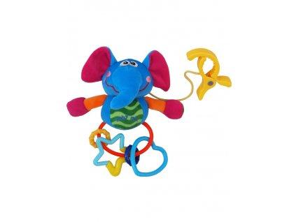 Dětská plyšová hračka s chrastítkem Baby Mix slůně