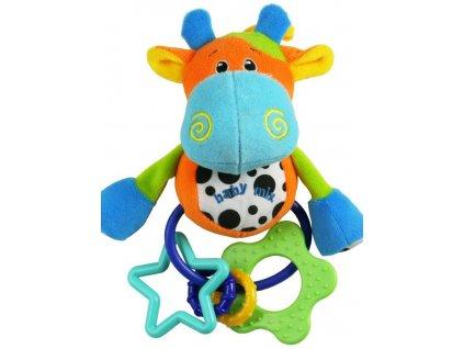 Dětská plyšová hračka s chrastítkem Baby Mix kravička