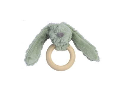 Dětská hračka Happy Horse králíček Richie s dřevěným kroužkem