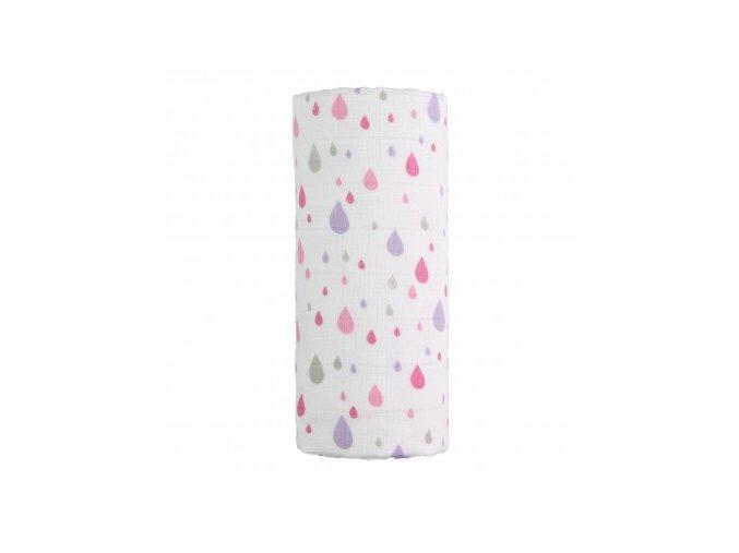 detska plenkova osuska velka t tomi bavlnena pink drops 120 x 120 cm