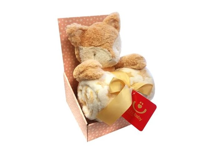 detska deka s plysovou hrackou bobobaby liska