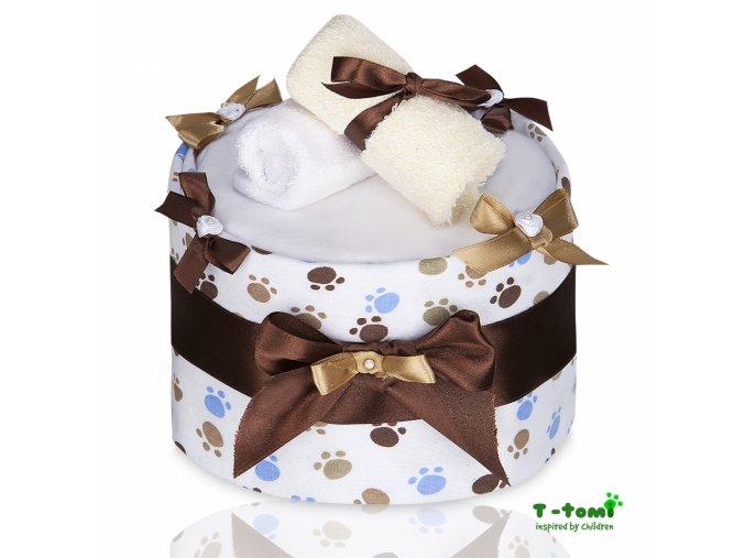 Plenkový dort T-Tomi Lux Tlapky bílé-velký