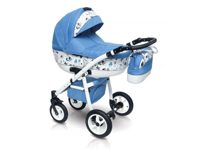 Dětský kočárek Camarelo Smile, Vision Design vcetne autosedacky modrý