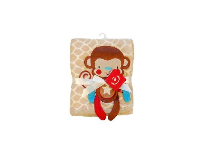 detska deka bobobaby mikrovlakno 76 x 102 cm opice