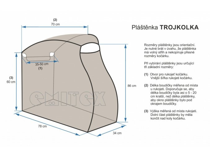 plastenka na kocarek emitex trojkolka